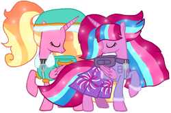 Size: 1431x951 | Tagged: safe, artist:徐詩珮, luster dawn, oc, oc:bubble sparkle, alicorn, bubbleverse, series:sprglitemplight diary, series:sprglitemplight life jacket days, series:springshadowdrops diary, series:springshadowdrops life jacket days, alicornified, alternate universe, base used, bubbledawn, canon x oc, clothes, everest (paw patrol), female, lesbian, lustercorn, magical lesbian spawn, magical threesome spawn, multiple parents, next generation, offspring, older, older luster dawn, parent:glitter drops, parent:spring rain, parent:tempest shadow, parent:twilight sparkle, parents:glittershadow, parents:sprglitemplight, parents:springdrops, parents:springshadow, parents:springshadowdrops, paw patrol, shipping, simple background, transparent background