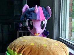 Size: 320x240 | Tagged: safe, artist:nekokevin, photographer:sometwifag, twilight sparkle, alicorn, borgarposting, burger, food, irl, photo, plushie, twilight sparkle (alicorn)