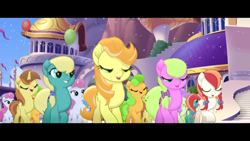 Size: 1920x1080 | Tagged: safe, screencap, cantaloupe (character), cornsilk, dawn sunrays, nougat praliné, earth pony, pony, unicorn, my little pony: the movie, background pony, balloon, blurry, bow, canterlot, clones, confetti, female, friendship festival, group, hair bow, hairclip, mane bow, marching, mare, raised hoof, singing, unnamed character, unnamed pony, we got this together