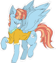 Size: 1040x1180 | Tagged: safe, artist:dashkatortik12222222, artist:millerrachel, windy whistles, pegasus, clothes, collaboration, cute, female, hair covering eyes, mare, raised hoof, shirt, simple background, smiling, solo, spread wings, transparent background, windybetes, wings