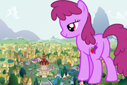 Size: 2400x1600 | Tagged: safe, artist:hellswolfeh, artist:luckreza8, berry punch, berryshine, earth pony, pony, bridge, female, giant berryshine/berry punch, giant pony, giant/macro earth pony, giantess, houses, looking down, macro, mare, mega giant, ponyville, ponyville town hall, this well end in rampage, town hall