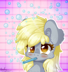 Size: 1800x1900 | Tagged: safe, artist:kindny-chan, derpy hooves, pony, bubble, bust, portrait, solo