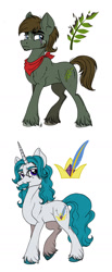 Size: 700x1692 | Tagged: safe, artist:celestial-rainstorm, oc, oc only, oc:ash bark, oc:harpsichord, earth pony, pony, unicorn, male, stallion