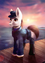 Size: 1683x2376 | Tagged: safe, artist:das_leben, oc, oc:rough seas, earth pony, pony, boots, hat, shoes, solo, sunset