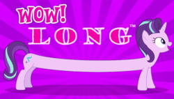 Size: 618x352 | Tagged: safe, starlight glimmer, crossing the memes, long glimmer, long pony, meme, trademark, wow! glimmer