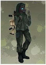 Size: 2480x3508 | Tagged: safe, artist:themstap, oc, oc:heilen beruhren, anthro, changeling, commission, gun, male, simple background, soldier, solo, stallion, weapon