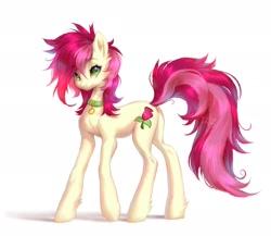 Size: 1942x1682 | Tagged: safe, artist:ladonb kokosa, roseluck, pony, collar, cute, fluffy, pet tag, pony pet, solo