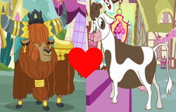 Size: 1022x654 | Tagged: safe, edit, edited screencap, screencap, daisy jo, prince rutherford, cow, yak, a friend in deed, party pooped, bovine, crack shipping, cropped, female, male, rutherjo, shipping, shipping domino, straight, udder