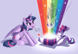 Size: 1280x898   Tagged: safe, artist:dstears, starlight glimmer, twilight sparkle, alicorn, pony, unicorn, blue background, colored pupils, cute, duo, female, frown, head tilt, mare, newbie artist training grounds, open, open mouth, present, rainbow, shrunken pupils, simple background, sitting, smiling, sparkles, spread wings, stars, taste the rainbow, twiabetes, twilight sparkle (alicorn), wide eyes, windswept mane, wings