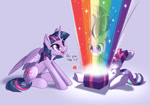 Size: 1280x898 | Tagged: safe, artist:dstears, starlight glimmer, twilight sparkle, alicorn, unicorn, duo, newbie artist training grounds, open, present, rainbow, taste the rainbow, twilight sparkle (alicorn)