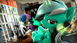 Size: 3840x2160 | Tagged: safe, artist:whiteskyline, bon bon, button mash, lyra heartstrings, sweetie drops, oc, oc:cream heart, pegasus, pony, unicorn, 3d, city, clock, coffee, ferrari 458 italia, glasses, office, phone, shelby gt500 mustang, source filmmaker