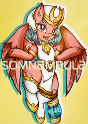 Size: 1448x2048 | Tagged: safe, alternate version, artist:canvymamamoo, somnambula, pegasus, pony, clothes, ear fluff, eyeshadow, female, looking at you, makeup, mare, open mouth, simple background, smiling, socks, solo, text, thighs, thunder thighs, underhoof, yellow background