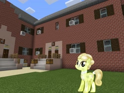 Size: 2048x1536 | Tagged: safe, artist:topsangtheman, artist:vector-brony, golden glitter, crystal pony, earth pony, pony, crying, house, looking at you, minecraft, solo