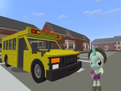 Size: 2048x1536 | Tagged: safe, artist:topsangtheman, cornetta, pony, unicorn, 3d, clothes, hat, looking at you, minecraft, school bus, solo, source filmmaker, uniform