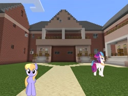 Size: 2048x1536 | Tagged: safe, artist:topsangtheman, cloud kicker, queen novo, classical hippogriff, hippogriff, pegasus, pony, my little pony: the movie, house, looking at you, minecraft
