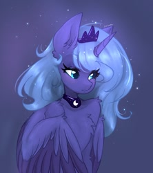 Size: 1256x1413 | Tagged: safe, artist:siripim111, princess luna, alicorn, semi-anthro, blue background, chest fluff, crown, cute, ear fluff, female, human shoulders, jewelry, lunabetes, regalia, s1 luna, shoulder fluff, simple background, solo, two toned wings, wings