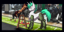 Size: 1077x546 | Tagged: safe, artist:coillte, oc, oc only, oc:grease pan, oc:wireless fuzz, cyborg, earth pony, unicorn, boop, eyes closed, female, mare, size comparison, step stool
