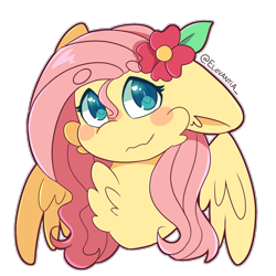 Size: 2400x2400 | Tagged: safe, artist:elevantia, fluttershy, pegasus, pony, beanbrows, blush sticker, blushing, bust, cheek fluff, chest fluff, eyebrows, female, floppy ears, flower, flower in hair, heart eyes, looking at you, mare, outline, portrait, simple background, solo, spread wings, stray strand, three quarter view, transparent background, wavy mouth, white outline, wingding eyes, wings