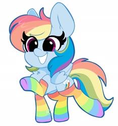 Size: 1920x2048 | Tagged: safe, artist:kittyrosie, rainbow dash, pegasus, pony, chest fluff, clothes, cute, dashabetes, female, mare, rainbow socks, simple background, smiling, socks, solo, striped socks, white background