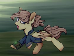 Size: 1080x811 | Tagged: safe, artist:ash_helz, oc, oc only, alicorn, pony, fallout equestria, alicorn oc, clothes, horn, open mouth, pipbuck, running, solo, vault suit, wings