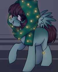 Size: 1080x1350 | Tagged: safe, artist:ash_helz, oc, oc only, pegasus, pony, abstract background, headscarf, pegasus oc, raised hoof, scarf, smiling, solo, stars, wings