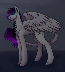 Size: 1080x1204 | Tagged: safe, artist:ash_helz, oc, oc only, pegasus, pony, colored hooves, glowing eyes, leonine tail, pegasus oc, solo, wings