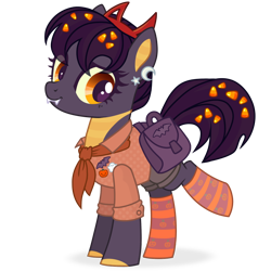 Size: 1198x1200 | Tagged: safe, alternate version, artist:esgest, oc, oc only, oc:tricky treat, bat, dracony, dragon, ghost, hybrid, pony, undead, bad, badge, bag, bandana, candy, candy corn, clothes, ear piercing, earring, fangs, female, food, headband, jewelry, mare, piercing, pin, pumpkin, raised leg, saddle bag, shirt, shorts, simple background, socks, solo, striped socks, transparent background