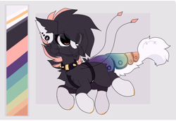Size: 1856x1284 | Tagged: safe, artist:little-sketches, oc, oc:kaiyo, original species, suisei pony, chest fluff, closed species, collar, color palette, ear fluff, ear piercing, eye clipping through hair, female, piercing, reference sheet, spiked collar