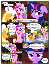 Size: 612x792 | Tagged: safe, artist:newbiespud, edit, edited screencap, screencap, applejack, princess cadance, rainbow dash, twilight sparkle, earth pony, pegasus, pony, unicorn, comic:friendship is dragons, a canterlot wedding, apple fritter (food), bowing, chef's hat, clothes, comic, dialogue, disguise, disguised changeling, eyes closed, food, freckles, frown, glowing horn, grin, hat, hoof shoes, horn, indoors, jewelry, magic, mouth hold, peytral, puffy cheeks, screencap comic, smiling, suspicious, telekinesis, tiara, tray, unicorn twilight