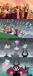 Size: 1280x2876 | Tagged: safe, amethyst star, applejack, blaze, chancellor neighsay, cozy glow, firelight, flam, flash magnus, fleetfoot, flim, fluttershy, fume, gallus, garble, grampa gruff, greta, high winds, lemon hearts, lightning streak, lord tirek, lyra heartstrings, meadowbrook, minuette, mistmane, misty fly, moondancer, night light, ocellus, party favor, pharynx, pinkie pie, prince rutherford, princess ember, queen chrysalis, rain shine, rainbow dash, rarity, rockhoof, sandbar, seaspray, silver lining, silver zoom, silverstream, sky beak, smolder, soarin', somnambula, sparkler, spear (dragon), spike, spitfire, star swirl the bearded, stellar flare, sunburst, surprise, tempest shadow, terramar, thorax, trixie, twilight sparkle, twilight velvet, wind waker (character), yona, alicorn, changedling, changeling, dragon, ivysaur, mewtwo, squirtle, the ending of the end, barely pony related, bowser, crossover, donkey kong country, flim flam brothers, fox mccloud, kid icarus, king k. rool, king thorax, kirby, kirby (character), link, mane six, mario, megaman, metroid, nintendo, nintendo switch, pit (kid icarus), pokémon, prince pharynx, princess zelda, samus aran, shulk, star fox, student six, super mario bros., super smash bros., super smash bros. ultimate, the legend of zelda, twilight sparkle (alicorn), winged spike, world of light, xenoblade chronicles
