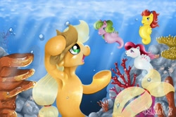 Size: 2000x1332 | Tagged: safe, artist:valemjj, applejack, pony, sea pony, seapony (g4), freckles, frog (hoof), g1, open mouth, raised hoof, seaponified, seapony (g1), seapony applejack, smiling, species swap, underhoof, underwater