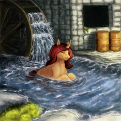 Size: 4000x4000 | Tagged: safe, artist:misstwipietwins, oc, oc:sile, unicorn, barrels, commission, complex background, cozy, male, relaxing, river, solo, swimming, water wheel