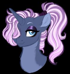 Size: 1024x1080 | Tagged: safe, artist:azure-art-wave, oc, pony, unicorn, bust, female, magical lesbian spawn, mare, offspring, parent:tempest shadow, parent:trixie, portrait, simple background, solo, transparent background