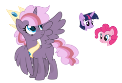 Size: 1024x702 | Tagged: safe, artist:sapphiretwinkle, pinkie pie, twilight sparkle, oc, alicorn, pony, base used, female, magical lesbian spawn, mare, offspring, parent:pinkie pie, parent:twilight sparkle, parents:twinkie, simple background, transparent background