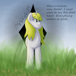 Size: 2500x2500 | Tagged: safe, artist:lupin quill, oc, oc:snow veil, unicorn, series:universal appetite (weight gain), dialogue, fat fetish, female, fetish, grass, grass field, horn, solo, this will end in weight gain, unicorn oc, weight gain, weight gain sequence