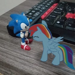 Size: 720x720 | Tagged: safe, rainbow dash, pegasus, augmented reality, gameloft, keyboard, remote control, toy