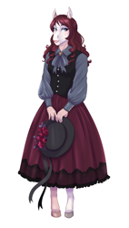 Size: 1809x3181 | Tagged: safe, artist:askbubblelee, oc, oc only, oc:marionette, anthro, earth pony, anthro oc, clothes, colored, dress, earth pony oc, female, hat, lolita fashion, mare, smiling