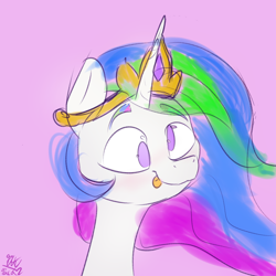 Size: 3000x3000 | Tagged: safe, artist:packy paca, princess celestia, alicorn, :p, derp, derplestia, majestic as fuck, sillestia, silly, solo, tongue out