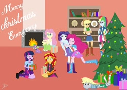 Size: 1080x764 | Tagged: safe, artist:operfield, applejack, derpy hooves, fluttershy, pinkie pie, rainbow dash, rarity, spike, sunset shimmer, twilight sparkle, dog, equestria girls, bookcase, christmas, christmas lights, christmas tree, clothes, cutie mark, cutie mark on clothes, female, fireplace, holiday, hug, humane five, humane seven, humane six, kneeling, merry christmas, present, shoes, skirt, spike the dog, tree, wrapped up