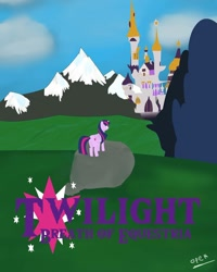 Size: 1080x1350 | Tagged: safe, artist:operfield, twilight sparkle, alicorn, pony, canterlot, canterlot castle, castle, cloud, female, mare, mountain, outdoors, poster, signature, solo, the legend of zelda, the legend of zelda: breath of the wild, twilight sparkle (alicorn)