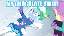 Size: 800x450 | Tagged: safe, edit, edited screencap, screencap, fluttershy, trixie, equestria girls, equestria girls series, holidays unwrapped, spoiler:eqg series (season 2), caption, chocolate, food, image macro, text