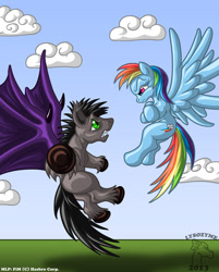 Size: 722x900 | Tagged: safe, artist:lysozyme, rainbow dash, oc, unnamed oc, bat pony, pegasus, pony, argument, bat pony oc, bat wings, duo, flying, underhoof, wings