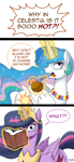 Size: 700x1527 | Tagged: safe, artist:johnjoseco, princess celestia, twilight sparkle, alicorn, the last problem, book, coconut, comic, dialogue, flower, food, glowing horn, hair over one eye, horn, magic, older, older twilight, open mouth, princess twilight 2.0, simple background, speech bubble, telekinesis, turned head, twilight sparkle (alicorn), white background