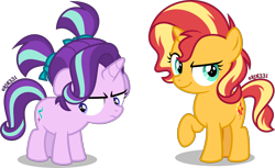Size: 4000x2440 | Tagged: safe, artist:orin331, starlight glimmer, sunset shimmer, unicorn, alternate hairstyle, cute, duo, female, filly, filly starlight glimmer, filly sunset shimmer, glimmerbetes, raised hoof, shimmerbetes, simple background, transparent background, vector, younger