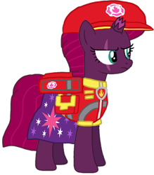 Size: 893x1020 | Tagged: safe, artist:徐詩珮, fizzlepop berrytwist, tempest shadow, pony, unicorn, series:sprglitemplight diary, series:sprglitemplight life jacket days, series:springshadowdrops diary, series:springshadowdrops life jacket days, aid marshall (paw patrol), alternate universe, base used, clothes, cute, marshall (paw patrol), paw patrol, simple background, tempest shadow is not amused, transparent background, unamused