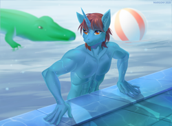 Size: 1300x950 | Tagged: safe, artist:margony, oc, oc only, anthro, unicorn, abs, beach ball, clothes, commission, digital art, horn, male, muscles, partial nudity, pool toy, solo, swimming, topless, water, wet