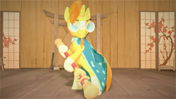 Size: 1280x720 | Tagged: safe, artist:sapphireatlas92, sunburst, pony, unicorn, 3d, bipedal, clothes, glasses, hoof hold, male, pole, pun, robe, solo, source filmmaker, stallion, sun wukong, sunburst's glasses, sunburst's robe