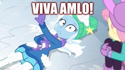 Size: 800x450 | Tagged: safe, edit, edited screencap, screencap, fluttershy, trixie, equestria girls, equestria girls series, holidays unwrapped, spoiler:eqg series (season 2), andrés manuel lópez obrador, caption, image macro, mexico, text