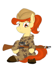 Size: 1820x2560 | Tagged: safe, artist:xphil1998, oc, oc only, earth pony, pony, camouflage, female, gun, hat, mare, mosin nagant, red army, rifle, simple background, smiling, sniper, sniper rifle, solo, soviet union, transparent background, weapon, world war ii