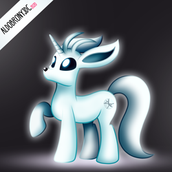 Size: 3000x3000 | Tagged: safe, artist:aldobronyjdc, pony, unicorn, cutie mark, digital art, large ears, looking up, male, male solo, meme, no mouth, ori and the blind forest, ori and the will of the wisps, ponified, shiny, simple background, solo, special eyes, video game, video game character